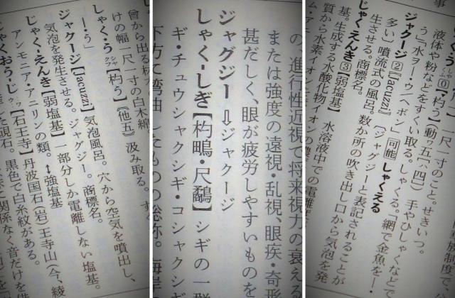 広辞苑の「ジャクージ」の見出し(左)、広辞苑の「ジャグジー」の見出しは、「ジャクージ」を参照するようになっている(中央)、大辞林は「ジャクージ」の見出し(右)