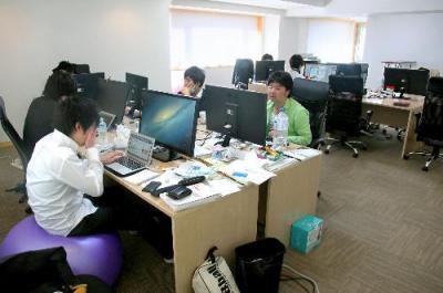 急成長を続けるグノシー。2013年5月の時のオフィス。その後、六本木ヒルズに引っ越した
