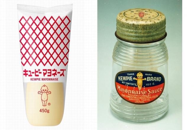 1925年に日本で初めて発売されたマヨネーズ(右)。左は現行パッケージ