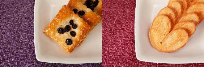 平家パイ(左)と源氏パイ。中身や食感は対照的。