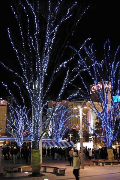 JR郡山駅西口広場の木々に光が点灯され、「ビッグツリーページェント・フェスタ IN KORIYAMA」が始まった(2006年12月1日)