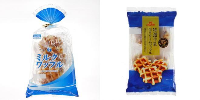 こちらはワッフル。左がミルクワッフル、右は特選牛乳生クリームワッフル
