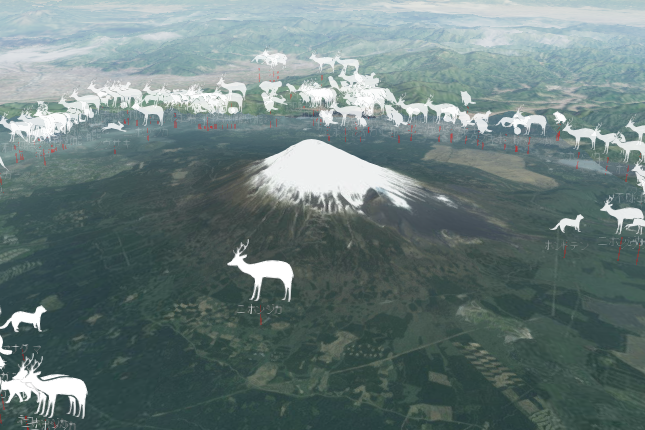 富士山「動物交通事故死」マップの画面。交通事故にあった動物が次々と現れる