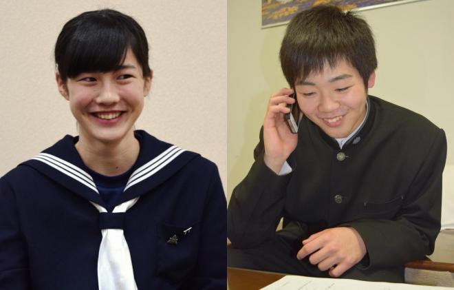 大賞に選ばれた5人のうちの2人。左が宮本菜々華さん、右が大丸智樹さん