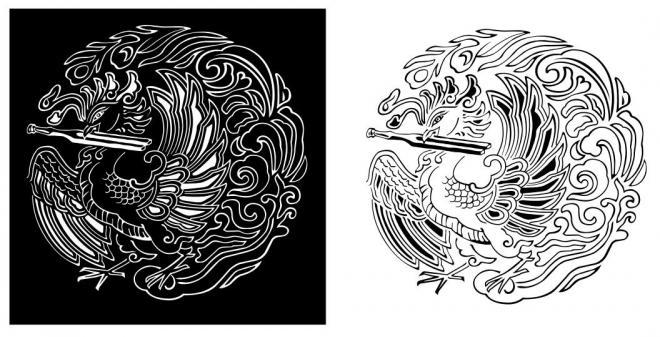 日本楽器製造株式会社(現在のヤマハ)設立の翌年に、商標として制定された「音叉をくわえた鳳凰図」。 オルガンの最高級品に使用されたものとされている