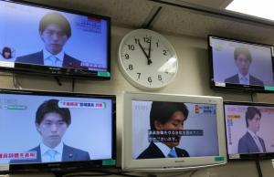 宮崎氏の記者会見を、各局が生中継した