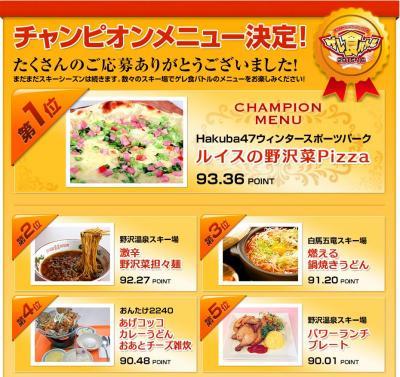 長野県内の30スキー場が参加した「ゲレ食バトル」。3代目チャンピオンには白馬村のスキー場「Hakuba47」の「ルイスの野沢菜Pizza」が輝いた=長野県索道事業者協議会提供