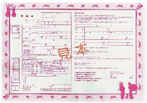 鳥取市独自の婚姻届の見本。ピンクの縁取りに白ウサギなどをあしらっている=鳥取市提供