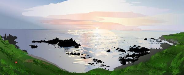 佐渡相川大浦海岸の夕陽=堀内さん提供