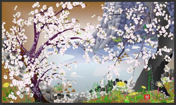 「オートシェイプでお絵かきコンテスト2006」で、大賞を受賞した「城址濠の桜」=堀内さん提供