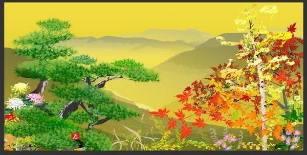「オートシェイプでお絵かきコンテスト2008」で、グランプリを受賞した「金屏風・山郷の眺望」=堀内さん提供