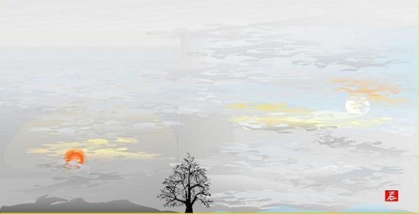 旭と残月=堀内さん提供