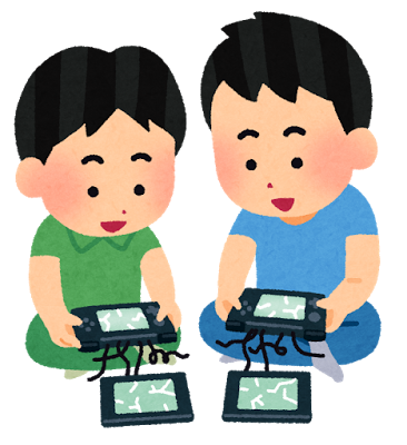 壊れた携帯ゲーム機で遊ぶ子供のイラスト:画面が割れて分離した携帯ゲーム機で楽しそうに遊んでいる子供たちのイラストです。