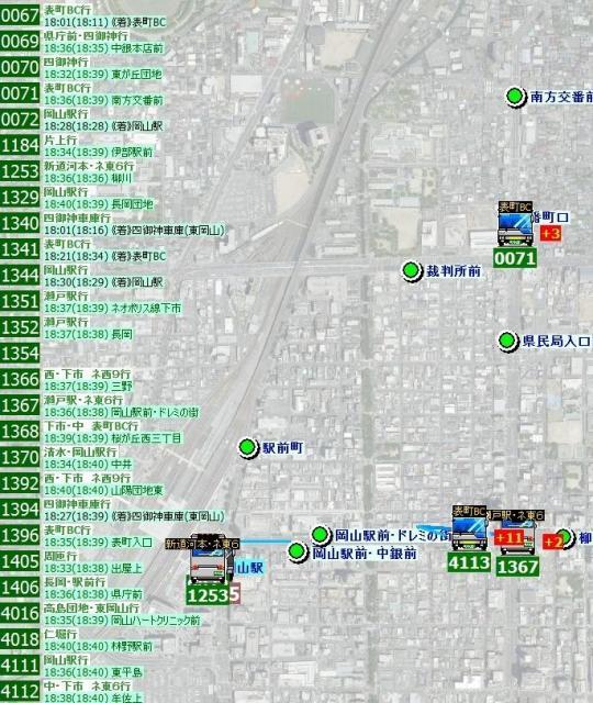 運行中のバスのプレート番号が表示される