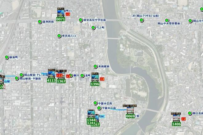 宇野バスが試験運用を始めたバス位置情報システム「バスまだ?」