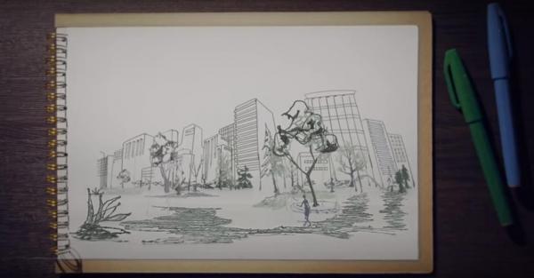 3Dペンで描かれたトリックアート動画の一場面