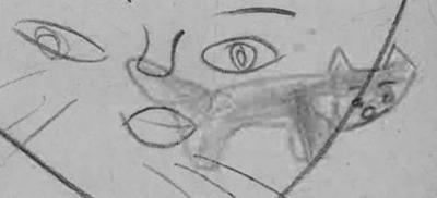 写真撮影して分析すると、口元に子猫がはっきり現れた