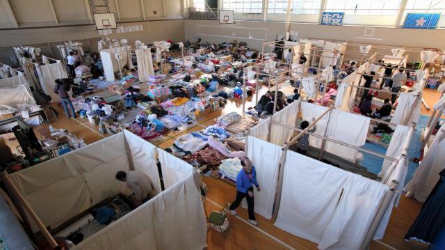 大槌高校に設置された避難所=2011年4月5日
