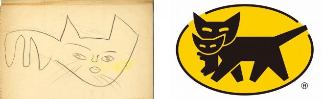 (左)画用紙の裏側に見つかった猫の絵 (右)クロネコマーク