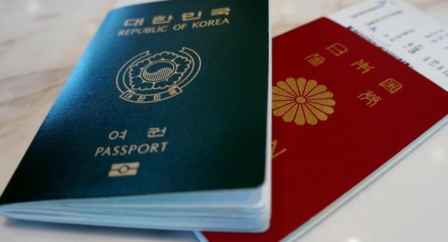 日本と韓国のパスポート