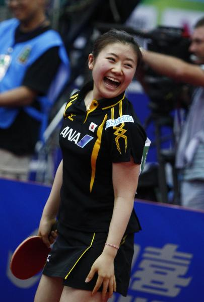 【2010年5月28日】世界卓球2010女子対韓国戦に勝った福原愛選手(モスクワ)