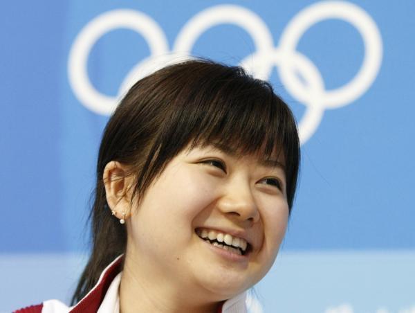 【2008年8月7日】北京オリンピックに控え、記者会見で抱負を語る福原愛選手
