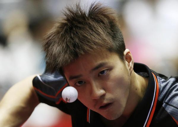 【2014年5月3日】世界卓球チャンピオンズシップ男子準々決勝、対韓国試合中の台湾・江宏傑選手(東京)