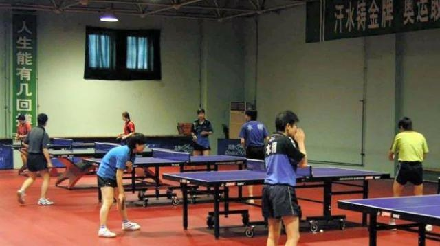 福原選手も練習する遼寧省体育運動技術学院の卓球館
