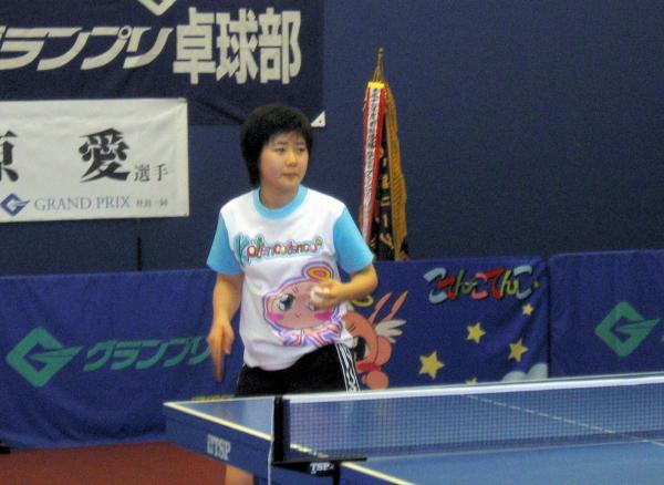 【2005年7月29日】公開練習中の福原愛選手が=卓球・中国超級リーグ