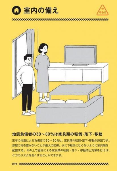 東京防災から「室内の備え」