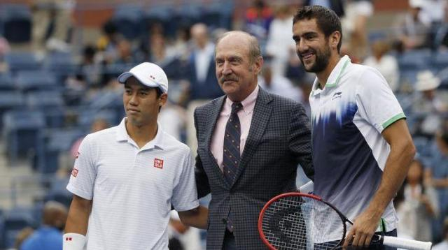 本物のスタン・スミスさんはテニス界のスーパースター。左は錦織圭、右はマリン・チリッチ=ロイター