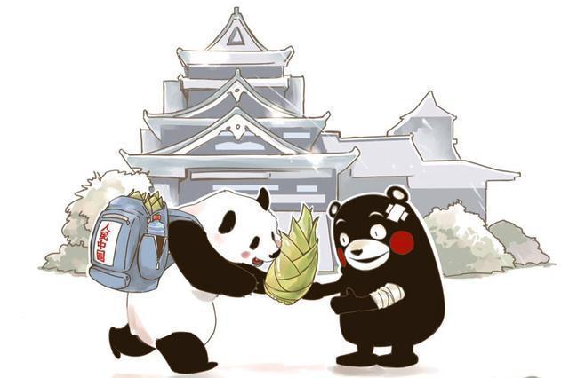 熊本城を背景にくまモンにタケノコを送るパンダの漫画