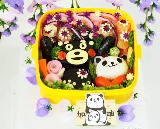 在日華人の文華さん作ったくまモンの応援キャラ弁