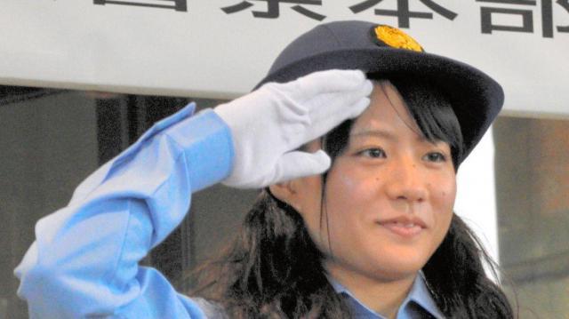 2012年9月、金沢学院大時代の八木かなえさん。1日交通部長を務めた
