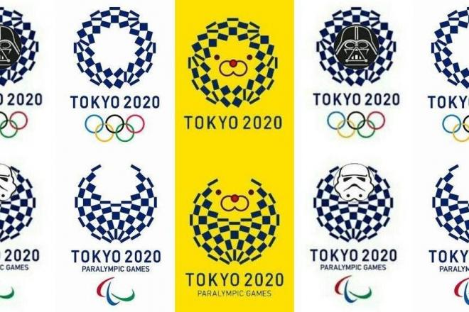 五輪の新エンブレム(中央左)とパロディー作品(中央は「SH100000」さん提供、中央右は「トルーパーフォト」さん提供)