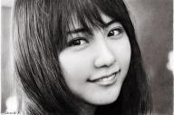 女優の有村架純さんを描いた鉛筆画=古谷振一さん提供