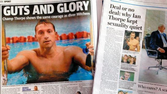 ゲイであることを否定していた水泳選手ソープさんカミングアウトを報じる地元紙。「勇気あるカミングアウト」とたたえた