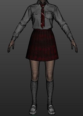 制服は型紙からつくる現実の服と同じように、ソフトウェア上で袖や胴回りなど何枚ものパーツを組み合わせて表現している=TELYUKA提供