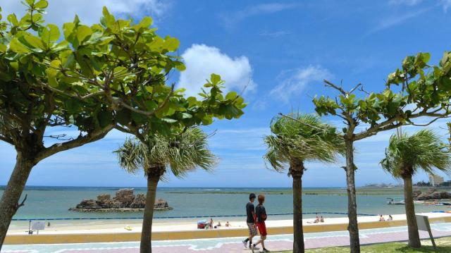 白い砂浜に青空が広がる「アラハビーチ」