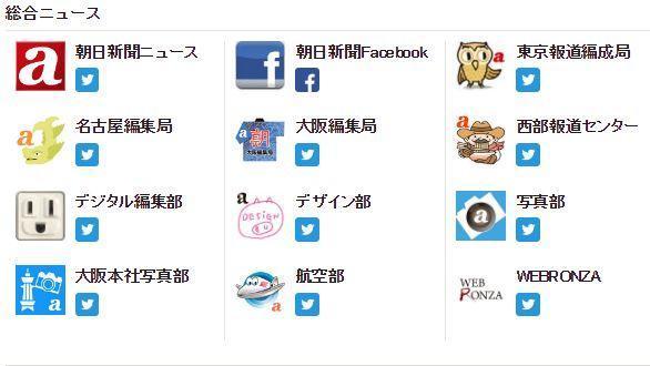 朝日新聞のツイッターアカウントの一部