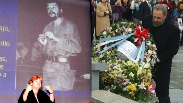 2008年にチェ・ゲバラのスライドを前に講演する娘のアレイダさん(左)、2003年に慰霊碑に献花するカストロ議長(右)