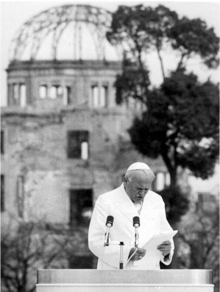 81年2月、広島を訪れ核兵器廃絶のアピールをするローマ法王ヨハネ・パウロ2世
