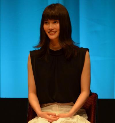 映画「うつくしいひと」のトークショーに参加した橋本愛さん=5月17日午後、東京・有楽町、佐々木洋輔撮影