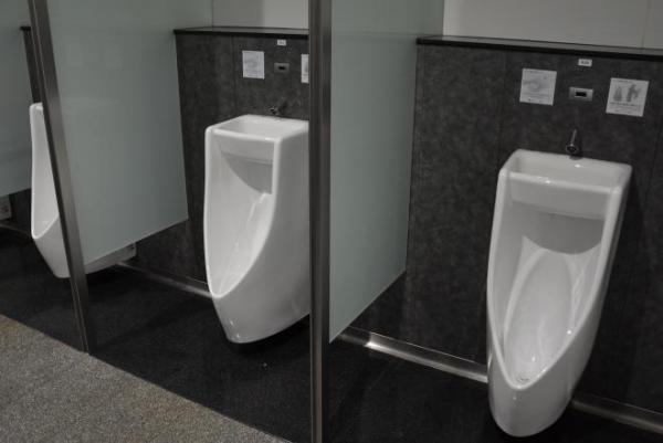 「手洗い器つき小便器」。器の高さがひじより下にあるため、洗いやすい。水は下の小便器の洗浄に回り、トータルで節水する仕組みだ