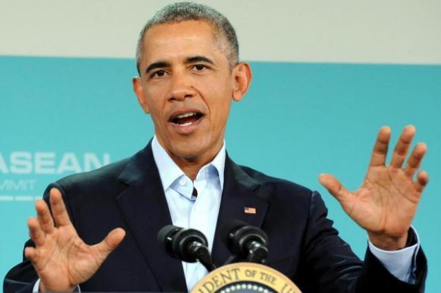 記者会見をするオバマ大統領=2016年2月16日、米カリフォルニア州ランチョミラージュ