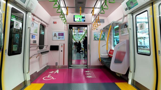 山手線新型車両「E235系」の色分けされた優先席エリア=2015年11月30日、東京都品川区、林敏行撮影