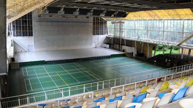 ポプコン本選会の舞台となったエキジビションホール=静岡県掛川市のつま恋