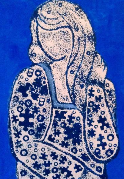 発泡スチロール版画・青い女性像
