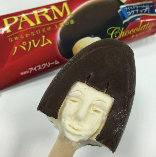 アイスクリーム彫刻「おかっパルム」