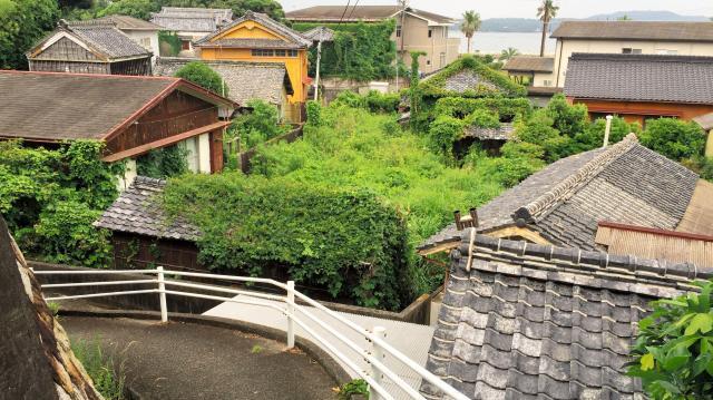 空き家が目立つ間崎島の集落=三重県志摩市志摩町和具